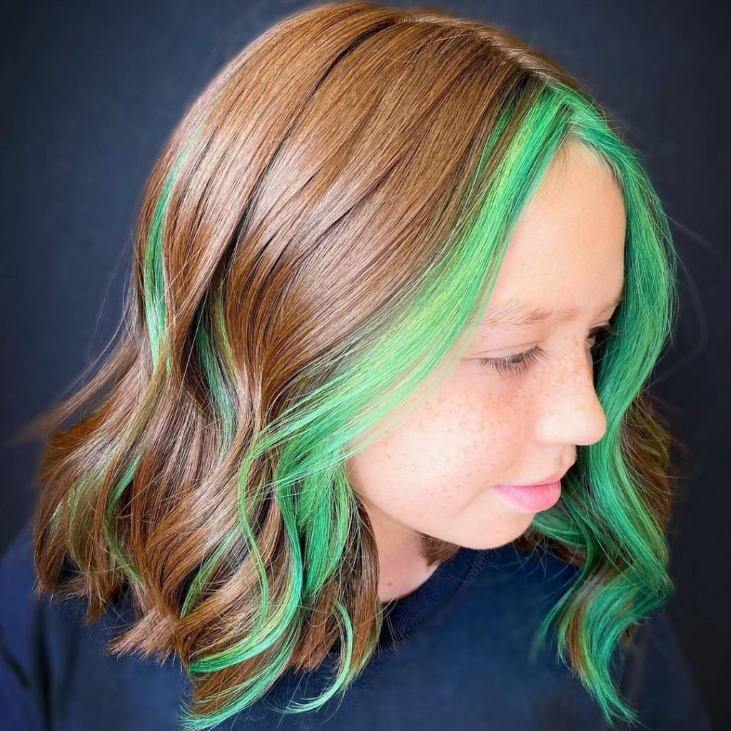 Medium Length Hairstyle with Front Highlights for Teenage Girls