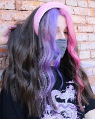 Two-Tone Pink and Purple Teen Hairstyle