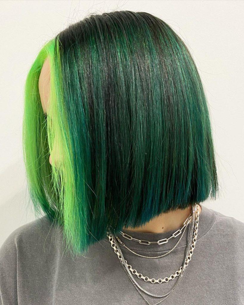 Green Bob Haircut for Kids and Teenagers