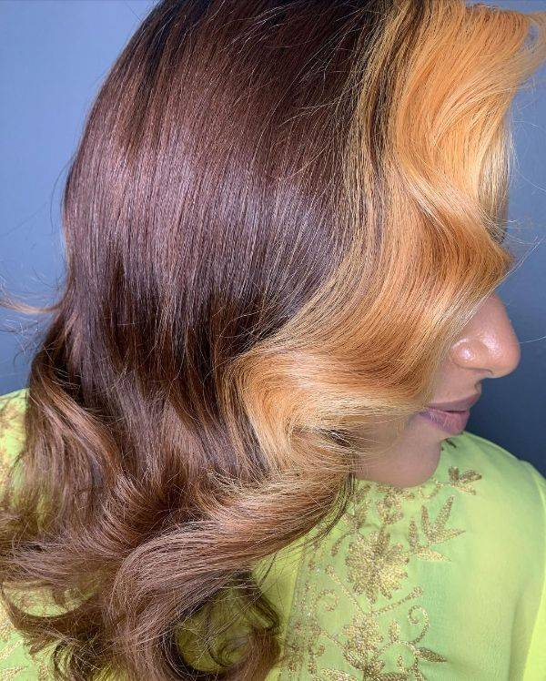 Brown Natural Hair with Honey Blonde Money Pieces