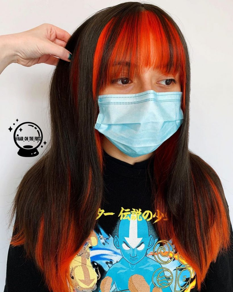 Bright Orange Hair Highlights Money Pieces Technique