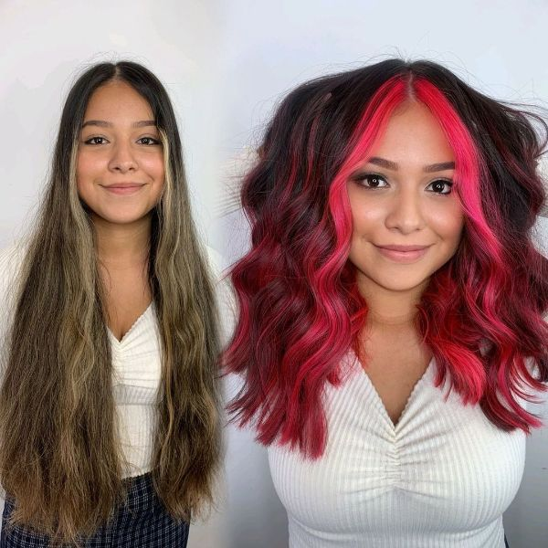 Brown Cherry Burgundy Hair with Fuchsia Money Pieces