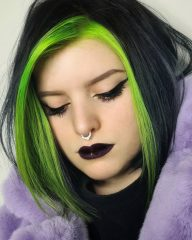 Neon Green Face Framing Highlights with Black Hair for Young Girls