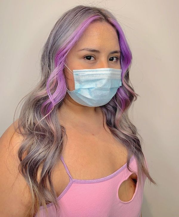 Ash Gray hair with Lavender Money Pieces