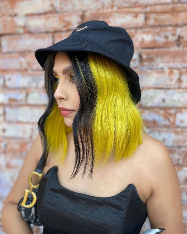 Yellow Hair with Black Front Money Pieces