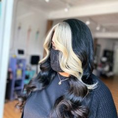 Black Hair Natural Color with Icy Blonde Front Strands