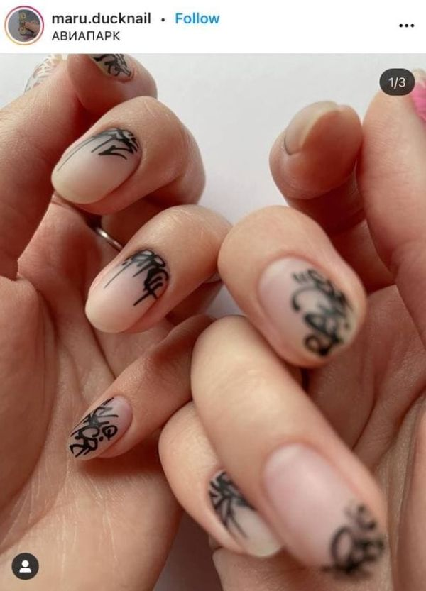 tattoo-styled nails