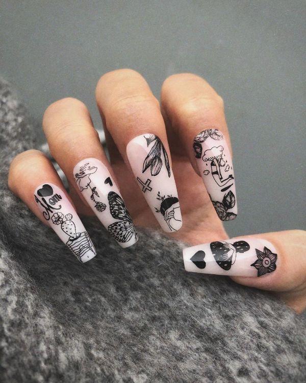 tattoo acrylic nails