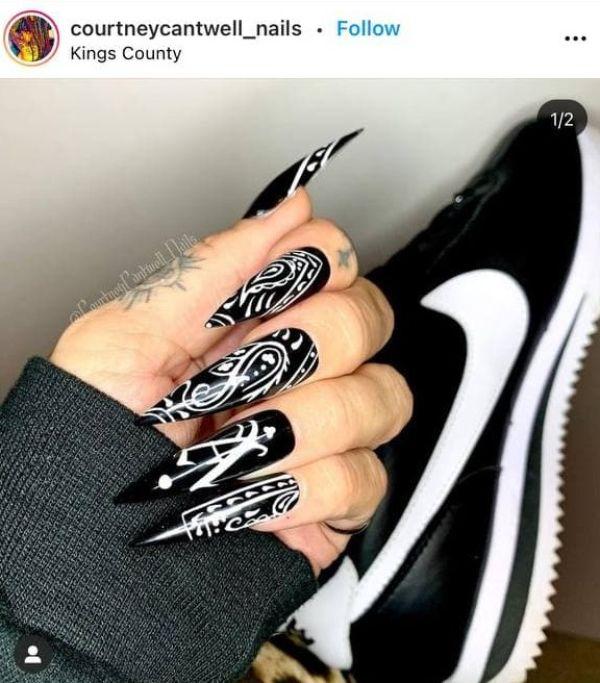black tattoo nails