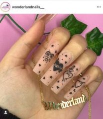 Acrylic Manicure with Tattoos