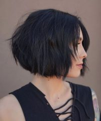 No-Bangs Dark Brunette French Bob