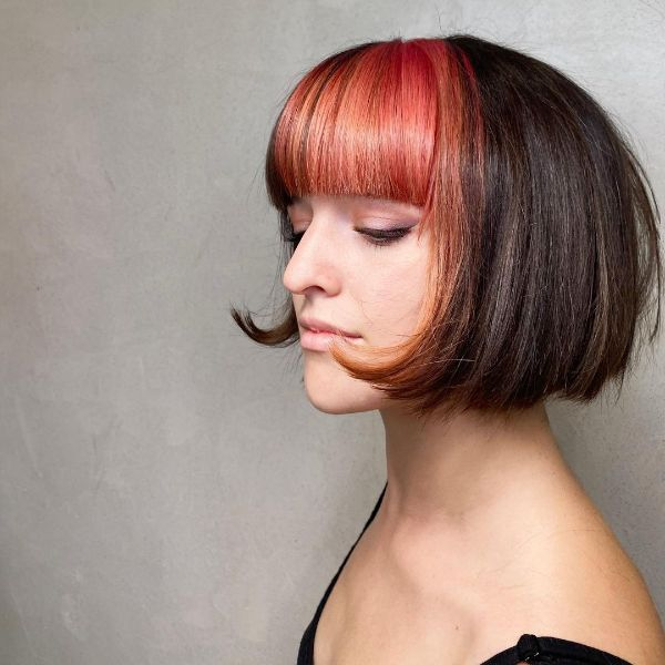 French Bob with Colored Bangs