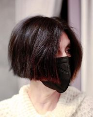 Deep Brown French Bob for Thick Hair
