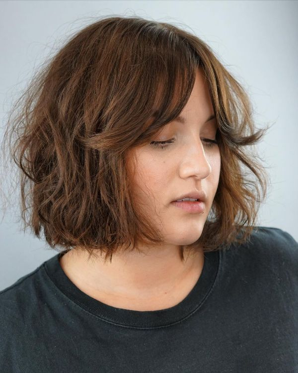 Dark Red French Bob with Curtain Bangs