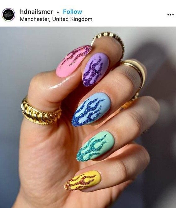 Colorful Flame Nails with Glitter