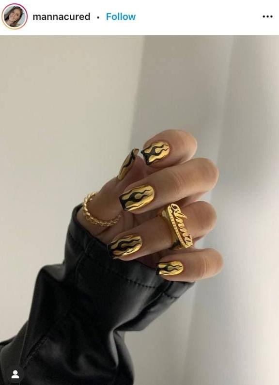 Gold Metallic Flame Nails