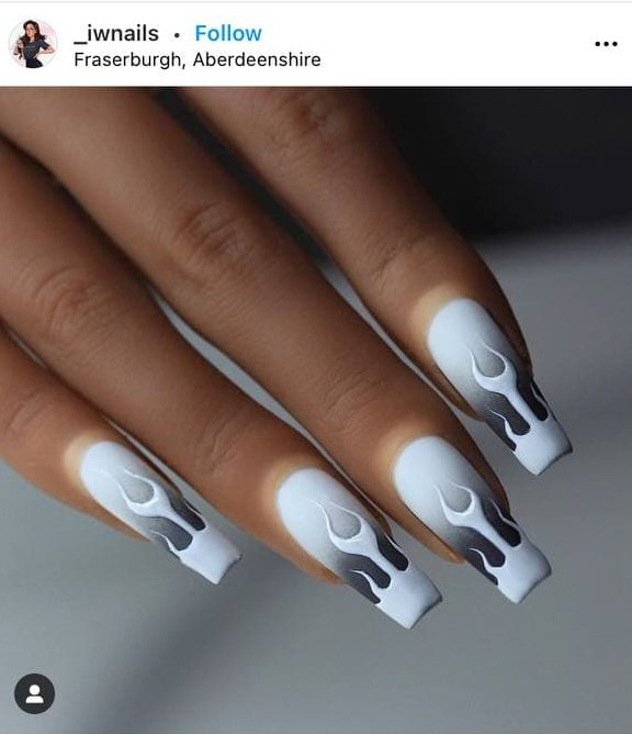 White and Gray Nails with Fire