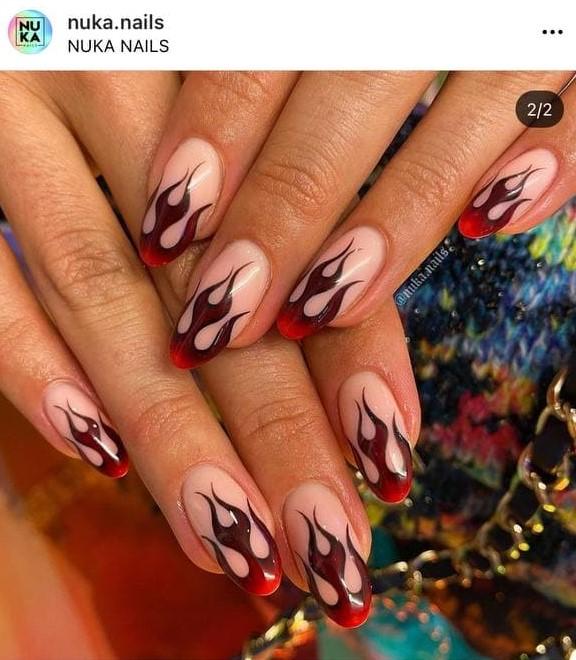 Dark Red Marsala Flame Nails