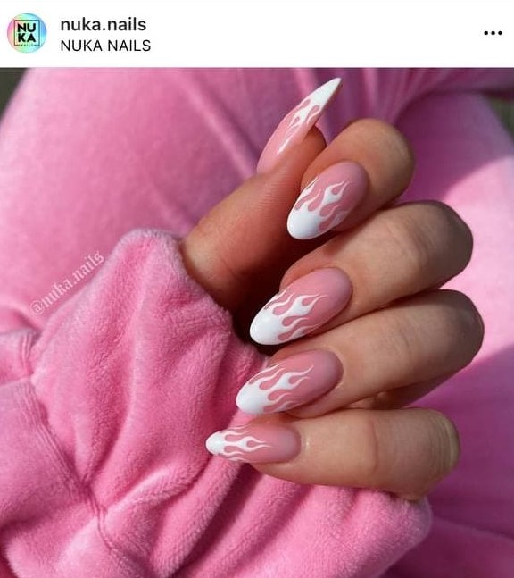Feminine Pink and White Fire Flames Nails