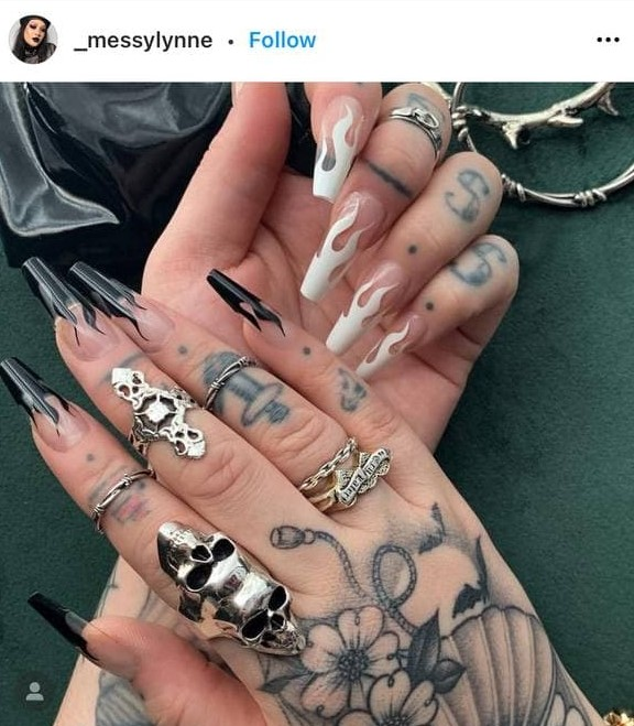 Different Hands Nail Design with Black and White Fire Flames