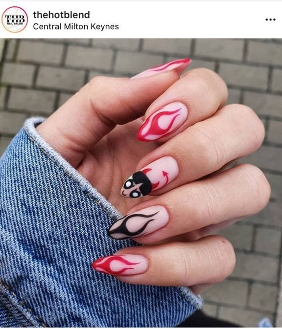 Devil Black and Red Flame Nails