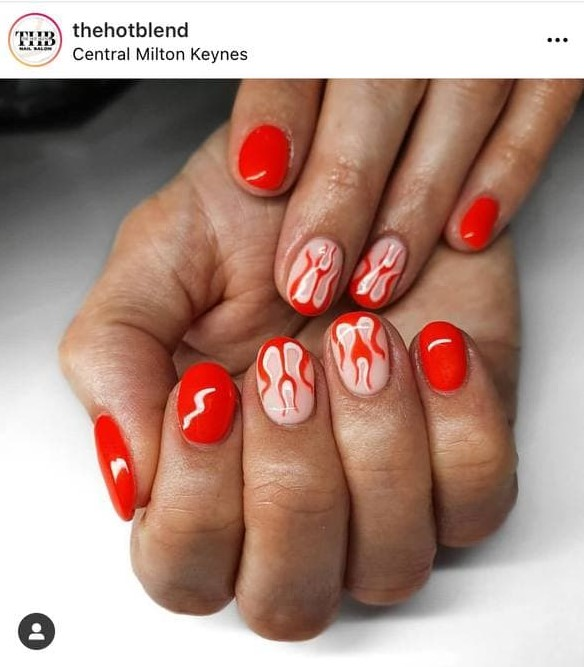 Short Red Flame Nails