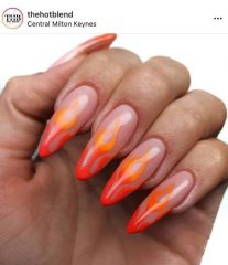 Long Orange Flame Nails