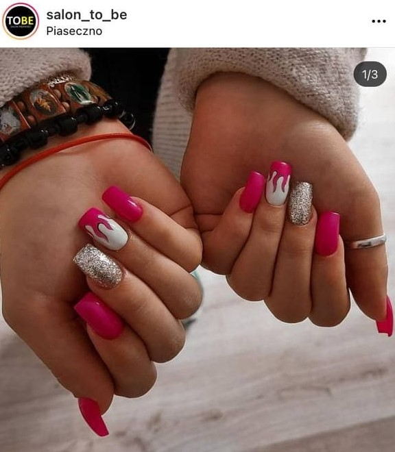 White and Pink Flame Nails