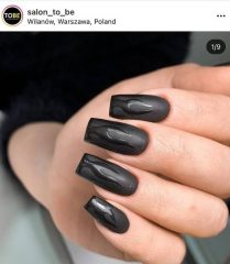 Black Matte and Glossy Flame Nails