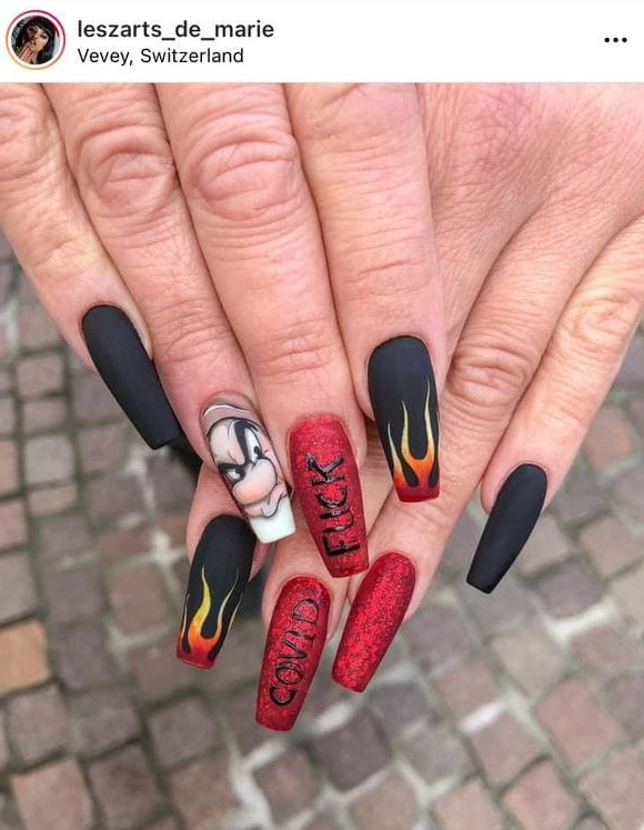 Dark Flame Nails