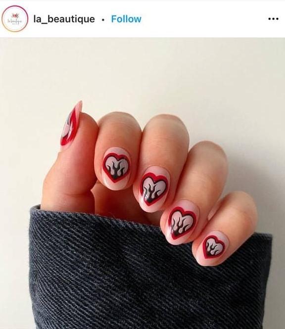 Valentine's Day Flame Nail Design