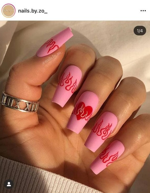Pink and Red Flame Nails