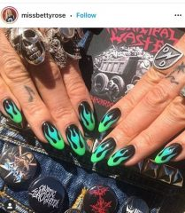 Black Flame Nails with Green Flames