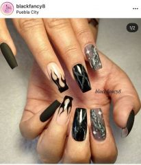 Black Marble Flame Nails