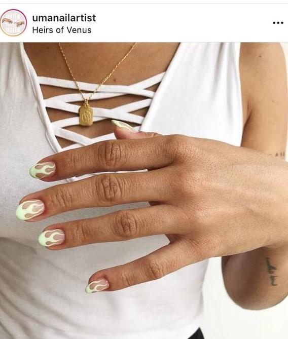 Short White Flame Nails