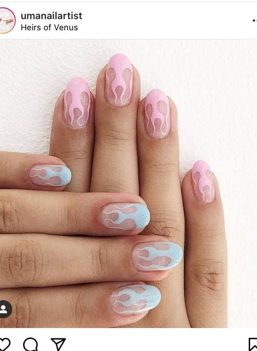 Light Pink and Light Blue Flame Nails