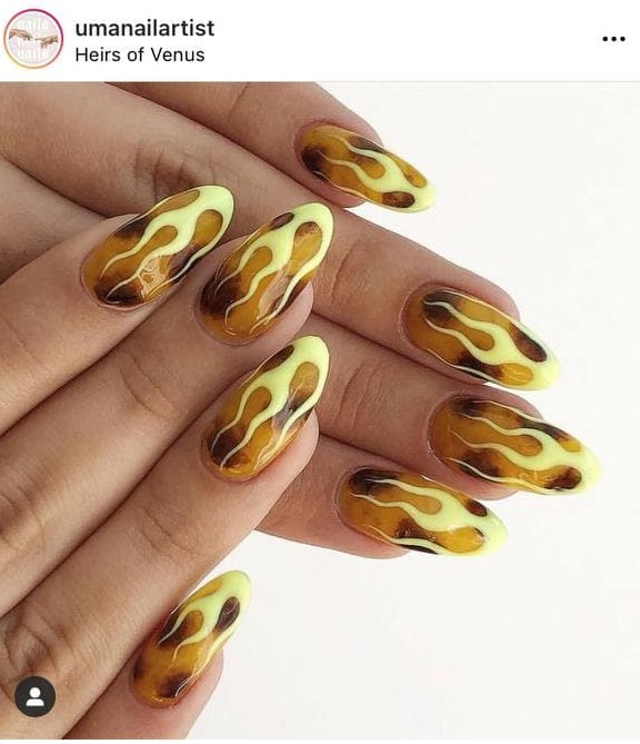 Leopard Yellow Flame Nails