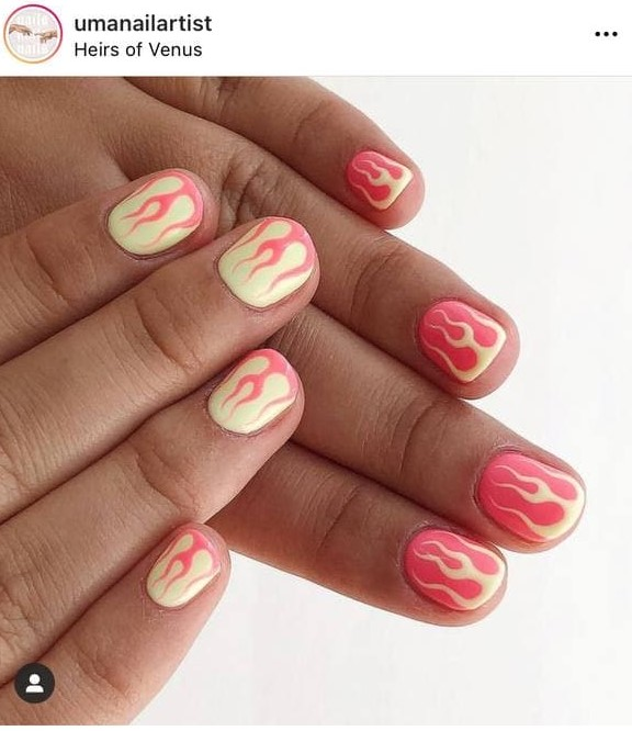 Short Yellow and Pink Flame Manicure