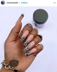 Black Flames on Long Square Nails