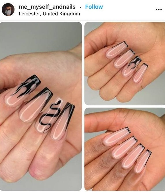 Black French Manicure with Flames