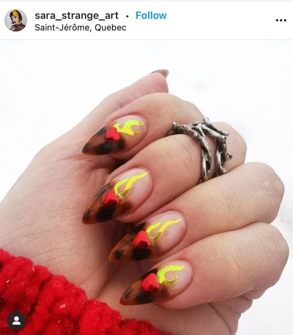 Leo Flame Nails with Hearts