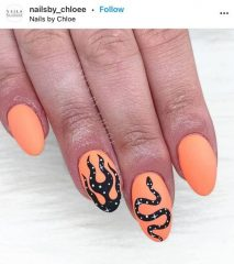 Peach Flame Nails