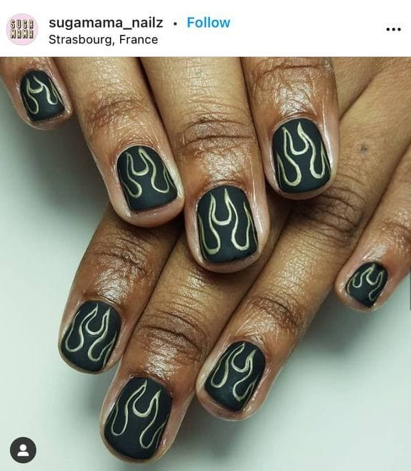 Short Black Nails with Flames on Dark Skin Brown Shade