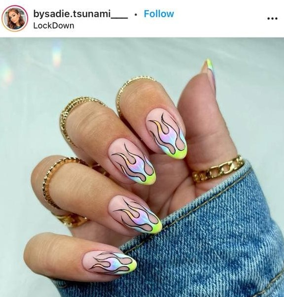 Pink Camouflage and Colorful Flames Nails