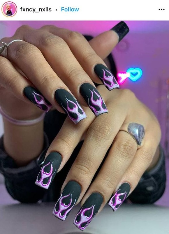 Matte Black Manicure with Pink Flames