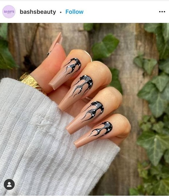Black and Beige Flames Nail Design