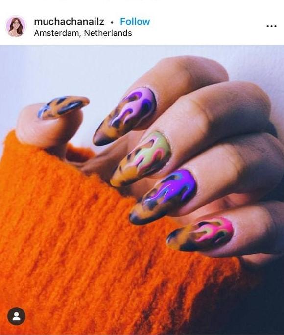 Leopard Flame Nails