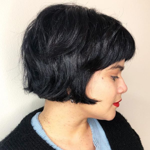 Ear-Length Raven Black French Bob