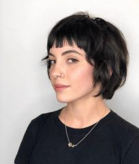 Dark French Bob Hair with Jagged