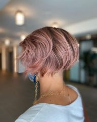 Pink Layered French Bob